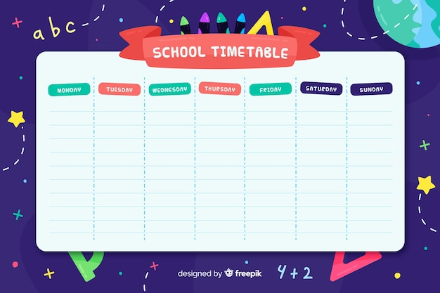 Flat style school timetable template Free Vector