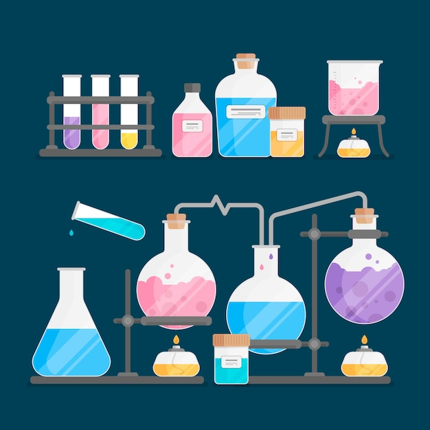 Flat style science lab with elements Free Vector