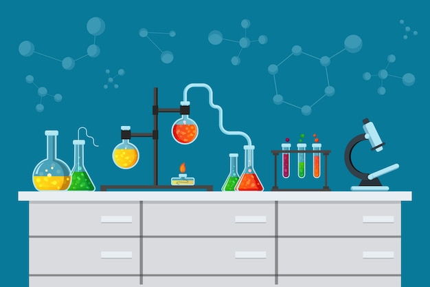 Flat style science laboratory Free Vector