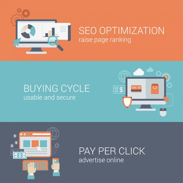 Flat style seo website optimization buying cycle pay per click infographic concept. computer with web site pages visits analytics online payment advertising block interface icon banners templates set. Free Vector