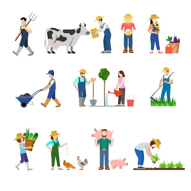 Insieme di stile piano di persone di lavoratori di professione agricola Vettore gratuito