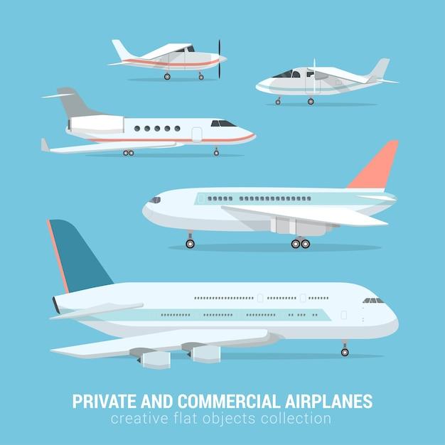 Плоский набор коммерческих и частных самолетов бизнес-джет легкий моторный самолет трансконтинентальный самолет среднего класса креативная коллекция воздушного транспорта Бесплатные векторы