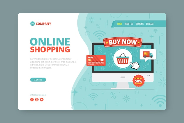 Flat style shopping online landing page Free Vector