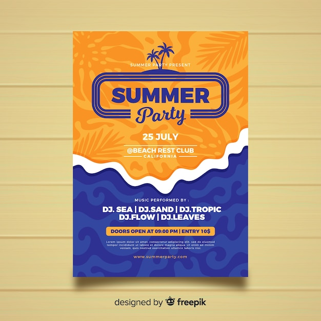 Flat style summer party poster template Free Vector