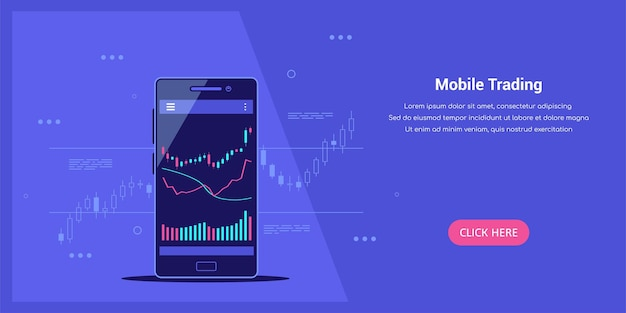 Flat style web template on mobile stock trading concept, online trading, stock market analysis, bus