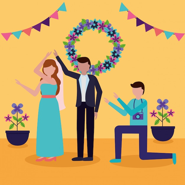 In flat style wedding people Free Vector