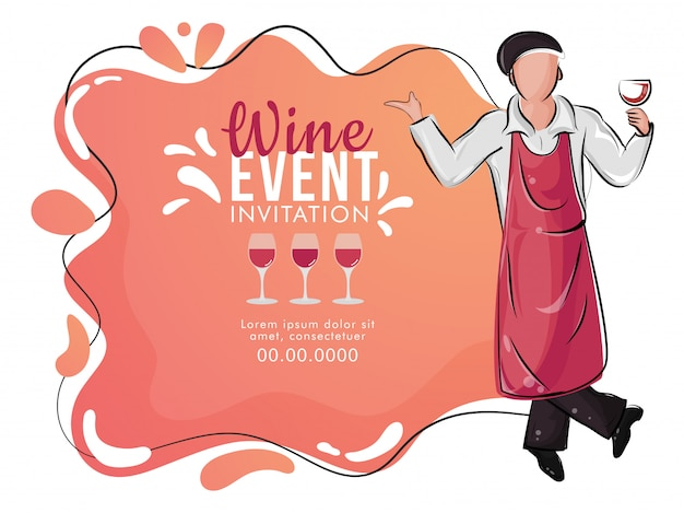 Flat style wine tasting event banner or poster design with illustration of bar waiter holding wine glass on abstract background. Premium Vector