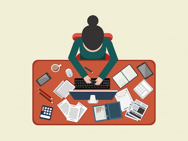 Flat style workplace design with illustration\ of businesswoman working on laptop