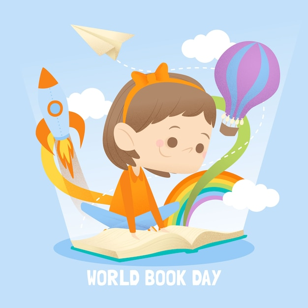 Flat style world book day event Free Vector