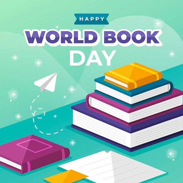 Flat style world book day Free Vector