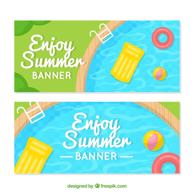 Flat summer banners with swimming pool Free Vector
