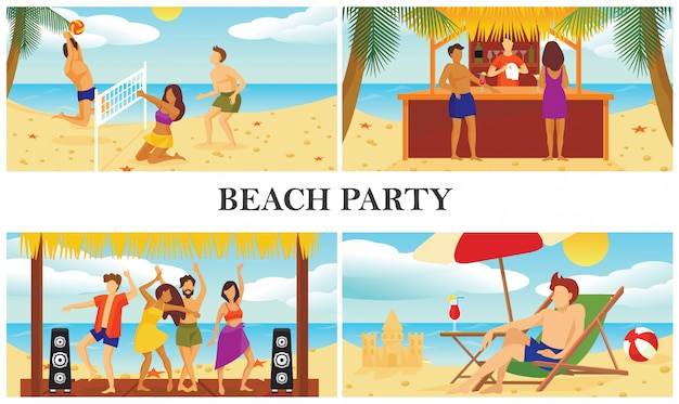 Flat summer beach vacation composition with people playing volleyball dancing drinking cocktails and man sunbathing on chaise lounge Free Vector