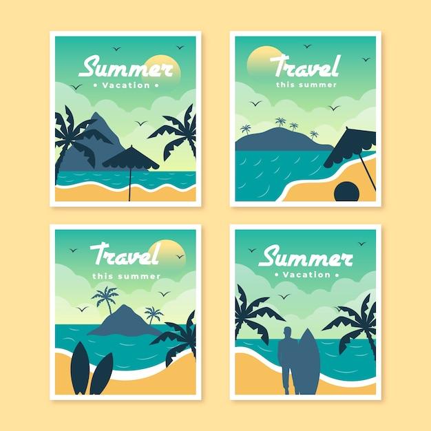 Шаблон коллекции плоских летних карт Бесплатные векторы