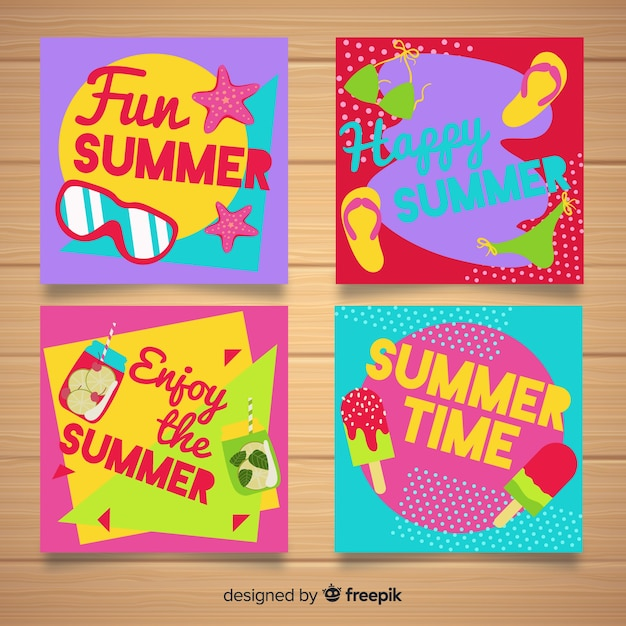 Flat summer cards Free Vector