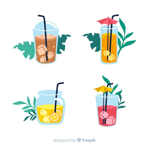 Flat summer element collection Free Vector