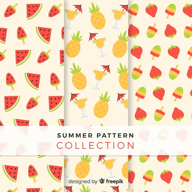 Flat summer fruit pattern collection Free Vector