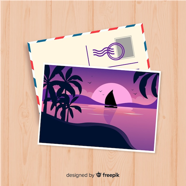 Flat summer holiday postcard template Free Vector