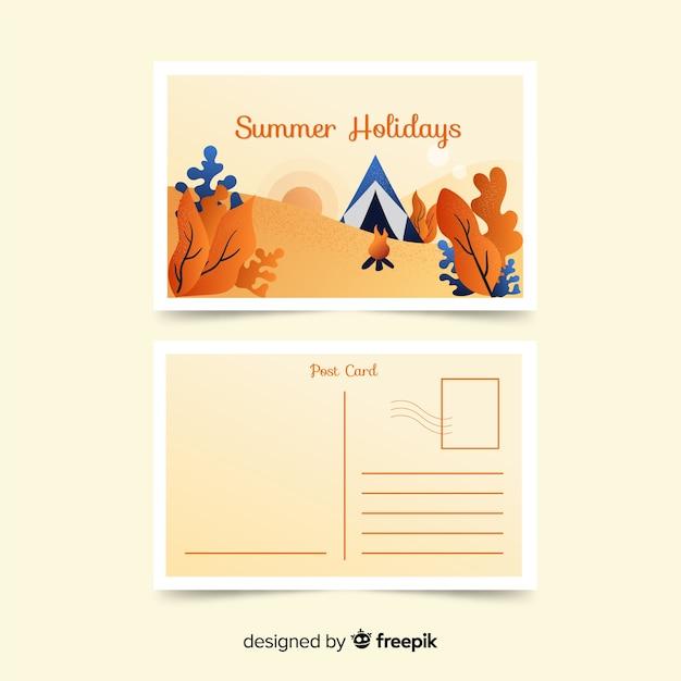 Flat summer holiday postcard Free Vector