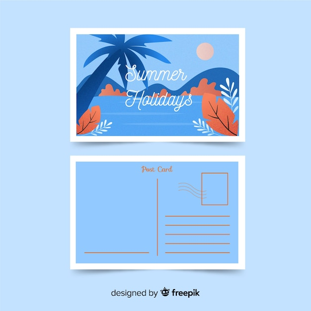 Flat summer holiday postcard Free Vector