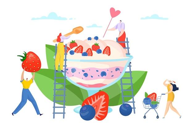 Плоский летний мороженое сладкий десерт дизайн Premium векторы