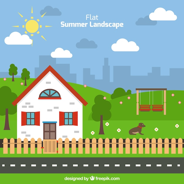 Flat Summer Landscape With A Cute House Background Free Vector