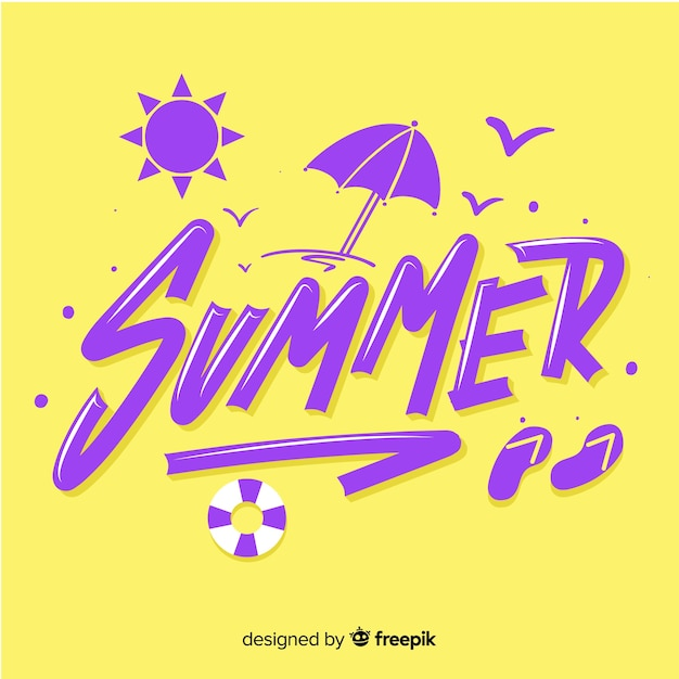Flat summer lettering background with beach Free Vector