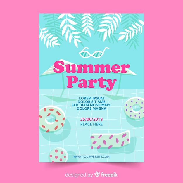 Flat summer party poster template Free Vector