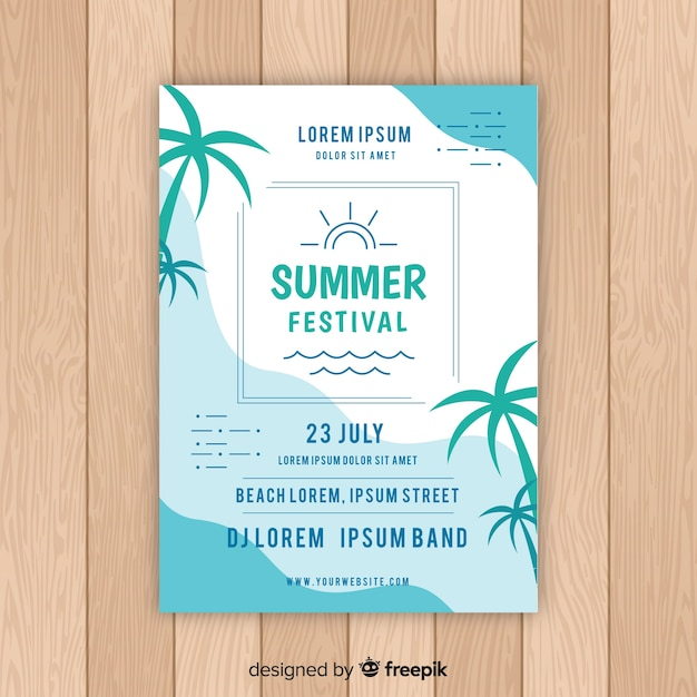 Flat summer party poster Free Vector