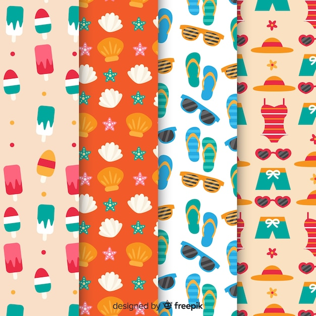 Flat summer pattern collection Free Vector