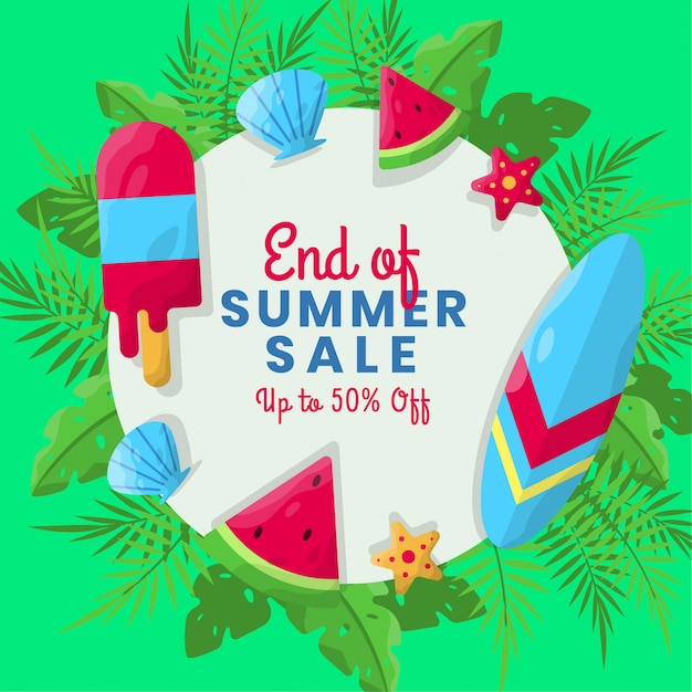 Flat summer sale background with tropical background Premium Vector