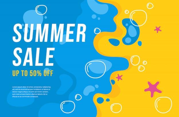 Плоская летняя распродажа баннер фон Premium векторы