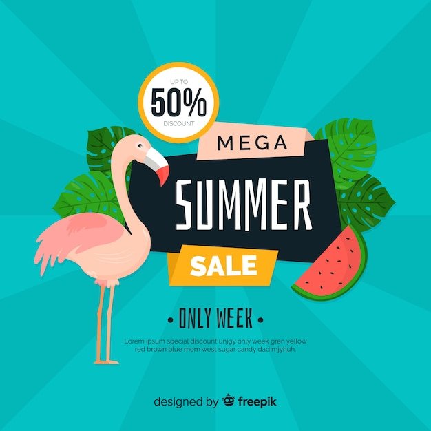 Flat summer sales banner template Free Vector