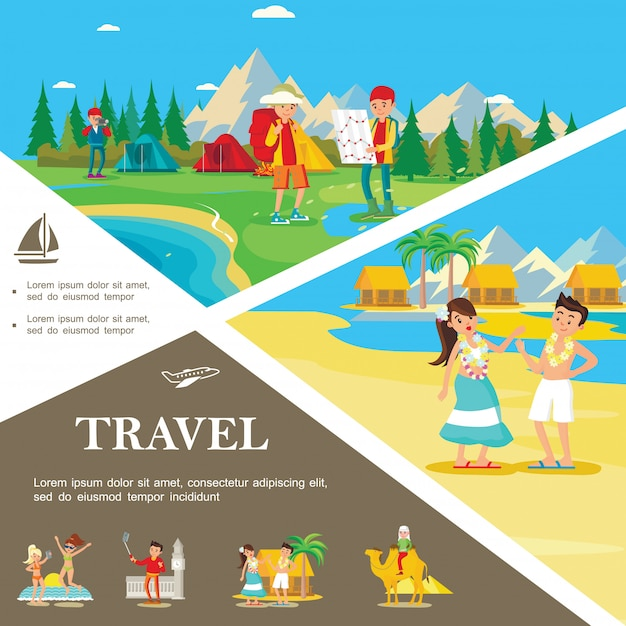 Flat summer travel colorful template with tourist camp in forest people relax on tropical beach in hawaii Free Vector