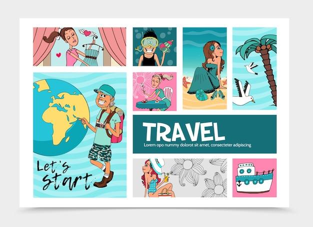 Modello infographic di viaggio estivo piatto con turista allegro vicino a donne graziose del globo terrestre che si rilassano Vettore gratuito