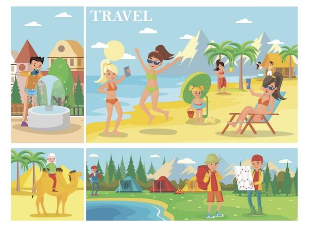 Плоская композиция для летних каникул с людьми, отдыхающими на пляже, человек, едущий в лагере туристов на верблюдах в лесу Бесплатные векторы