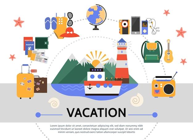 Piatto concetto di vacanza estiva Vettore gratuito
