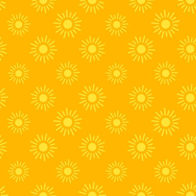 アプリやウェブサイトの背景のフラット太陽アイコンシームレスパターン 無料ベクター