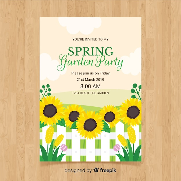 Flat sunflower spring party poster template Free Vector