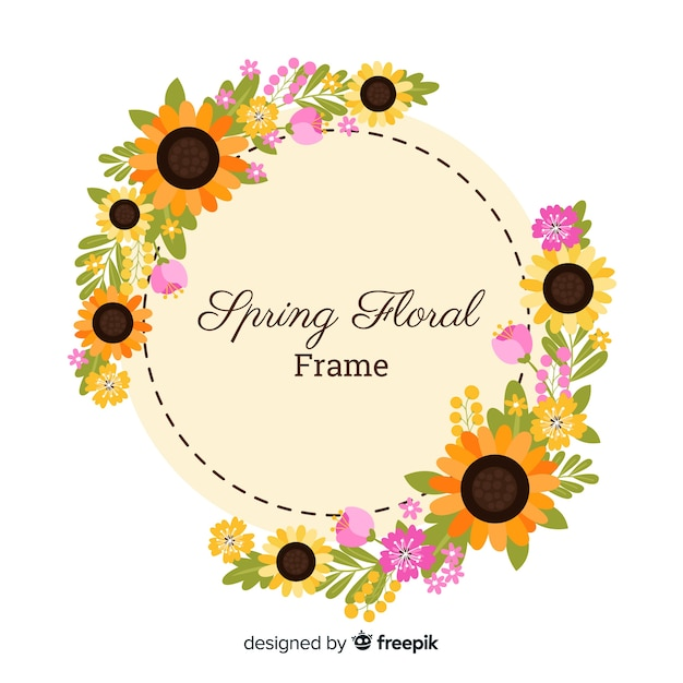 Flat sunflowers spring background Free Vector