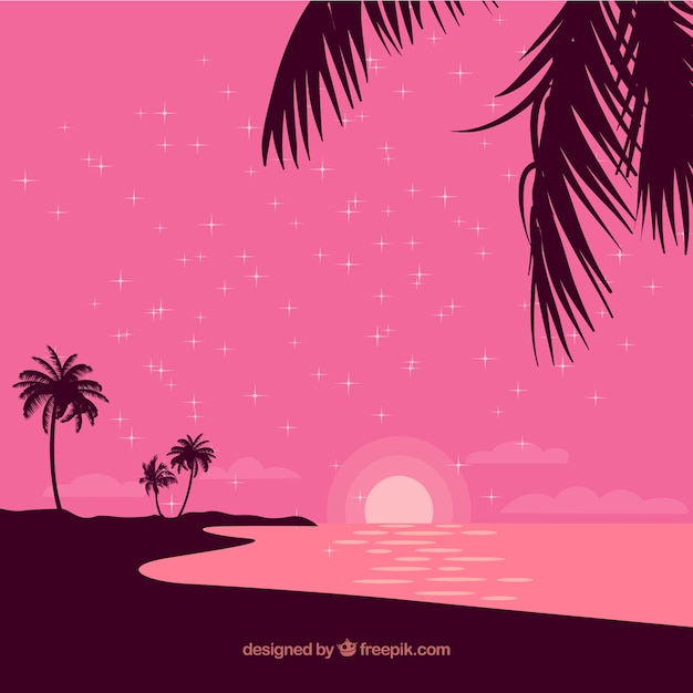 Flat sunset background with palm trees