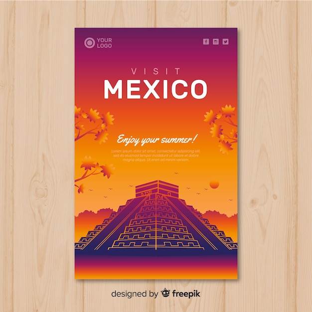 Flat sunset travel poster Free Vector