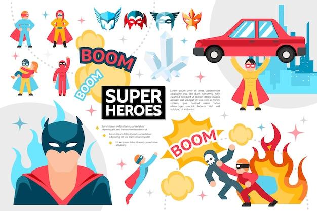フラットスーパーヒーローのインフォグラフィックコンセプト 無料ベクター