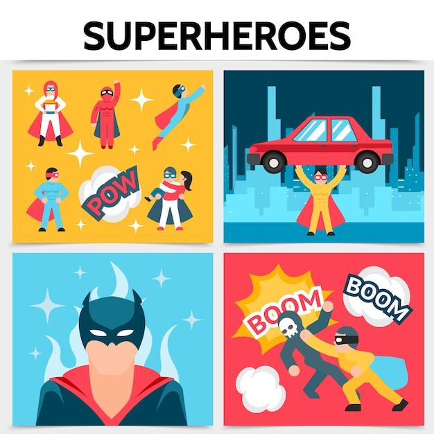 フラットスーパーヒーロースクエアコンセプト 無料ベクター