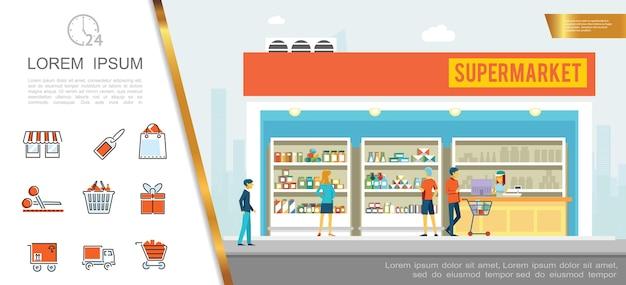 Плоский супермаркет красочная концепция Бесплатные векторы