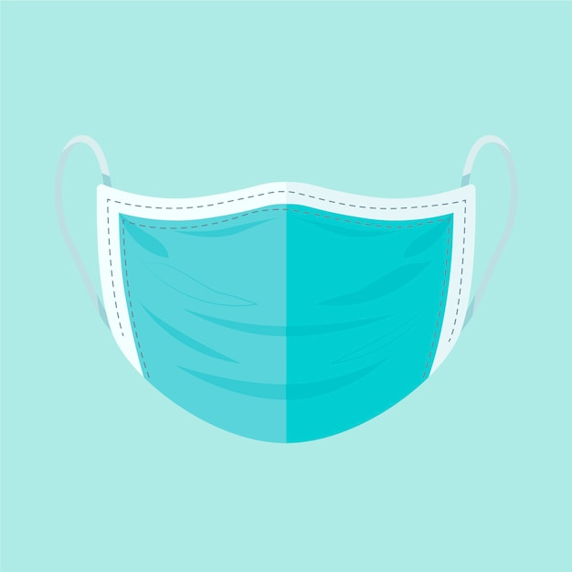 Flat surgical mask concept Free Vector