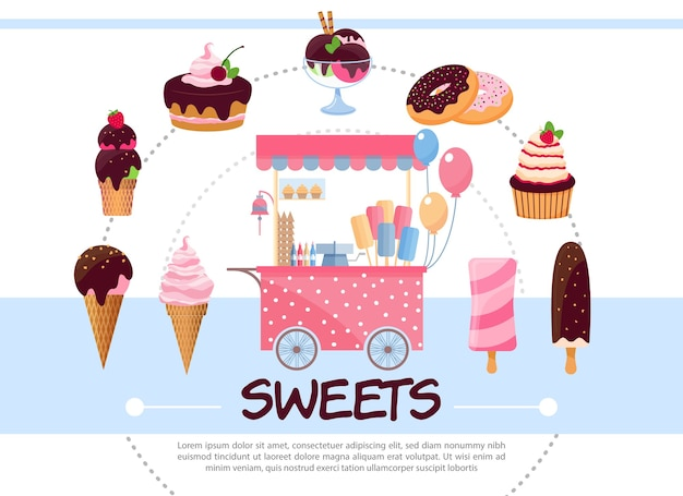 Flat sweets round concept Free Vector