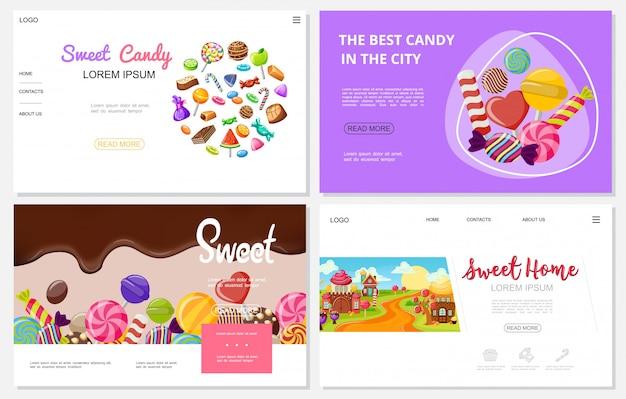 Siti web di dolci piatti con caramelle di cioccolato colorate caramelle caramelle lecca-lecca divertenti case dolci Vettore gratuito