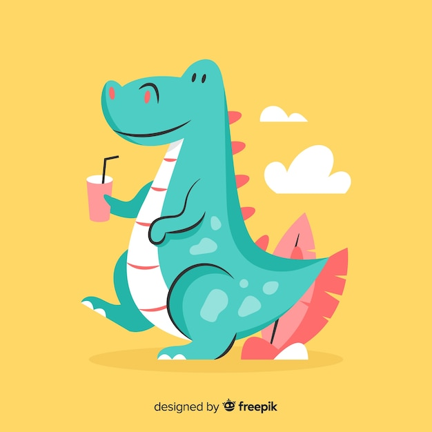 Flat t rex background Free Vector