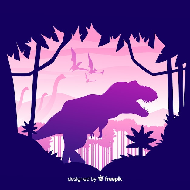 Flat t-rex background Free Vector