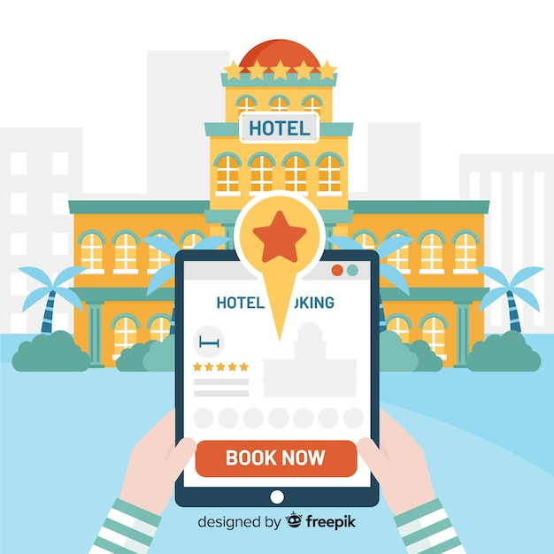 Flat tablet hotel booking background Free Vector